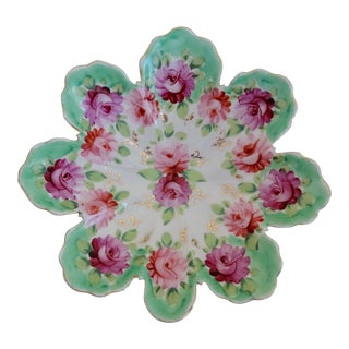Small Pink and Green Floral Porcelain Dish For Sale