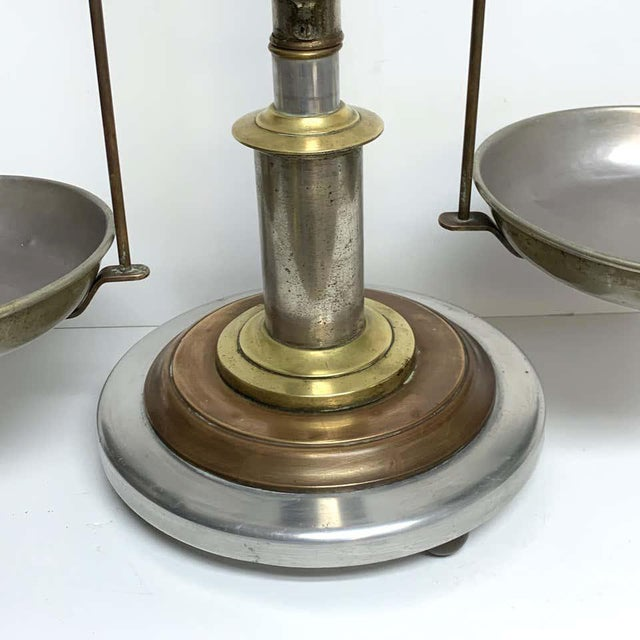 Antique Italian Mixed Metal Fruit Scale For Sale - Image 9 of 13