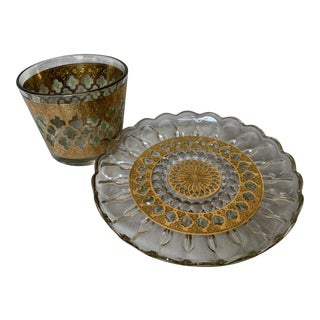 Mid-Century Culver Glass Ice Bucket and Tray - 2 Piece Set For Sale