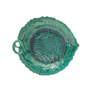 Antique Majolica Leaf & Vine Plate For Sale