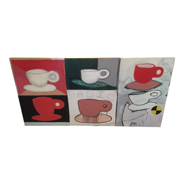 Original Pop Art Coffee Cups Painting by California Artist Casey O'Connor For Sale