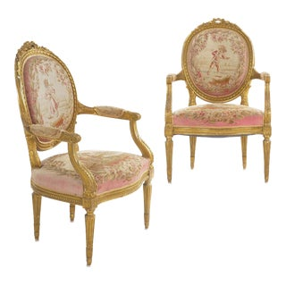 French Louis XVI Style Giltwood Antique Arm Chairs Fauteuils - a Pair For Sale