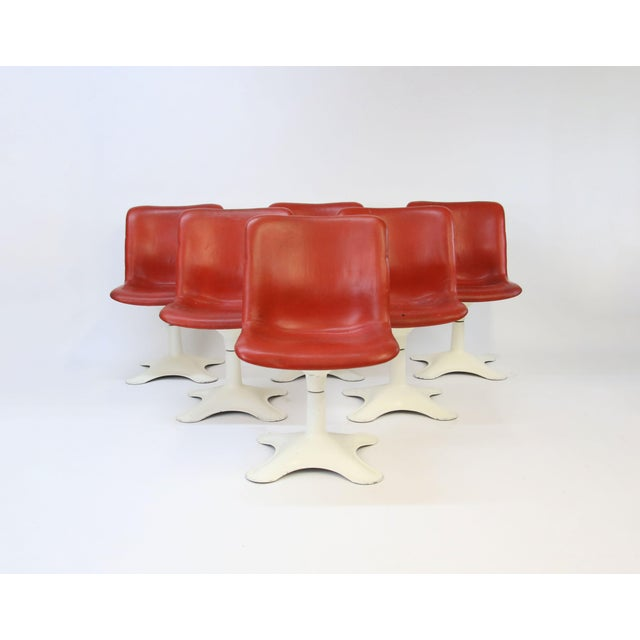 Red Mid Century Modern Yrjo Kukkapuro for Haimi, Finland Leather Dining Chairs- Set of 6 For Sale - Image 8 of 8