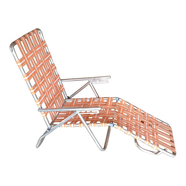 Mid-Century Aluminum Webbed Outdoor Chaise Lounge For Sale