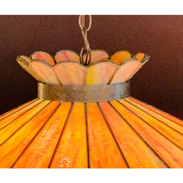 1950s Mid 20th Century Tiffany Style Leaded Glass & Patinated Bronze Pendant or Chandelier For Sale - Image 5 of 12