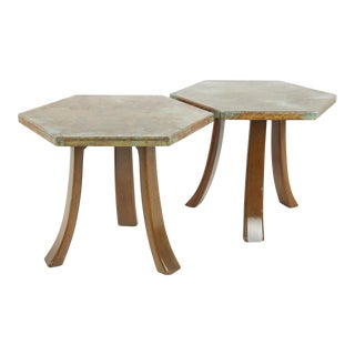 Harvey Probber Mid Century Walnut & Bronze Patina Side End Tables - a Pair For Sale