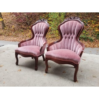 1950s Vintage Victorian Pink Velvet Slipper Chairs - A Pair Preview
