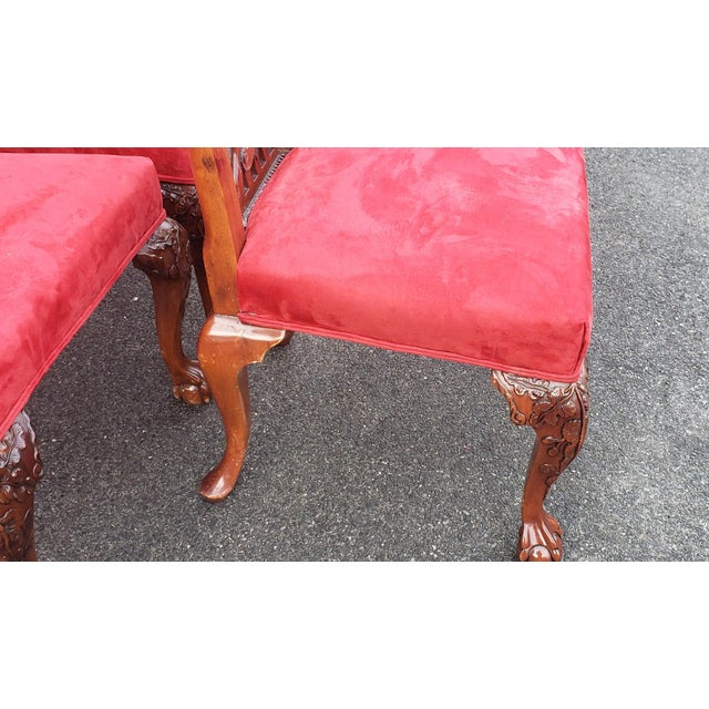 1980s Vintage Heavily Carved Mahogany Chippendale Style Dining Room Side Chairs- Set of 6 For Sale - Image 4 of 13