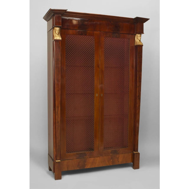 Empire A Beautiful French Empire Bibliotheque Cabinet With Grill Doors For Sale - Image 3 of 3