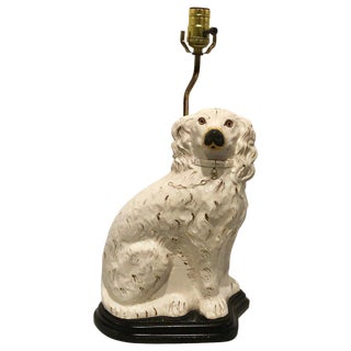 Single Antique Staffordshire White Spaniel, Now as a Lamp For Sale