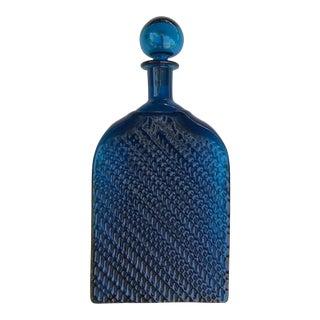 Vintage Blue Glass Decanter Mid Century Modern For Sale
