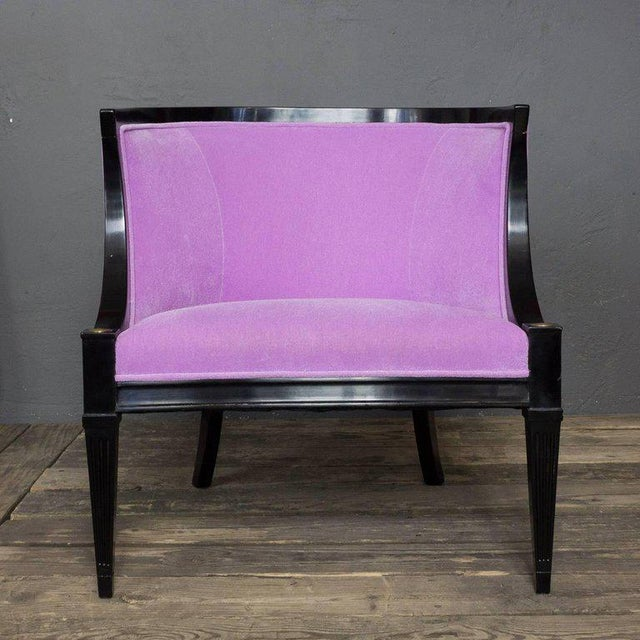 Pair of American Mid-century Modern Rounded Back Armchairs in Purple Velvet For Sale - Image 4 of 11