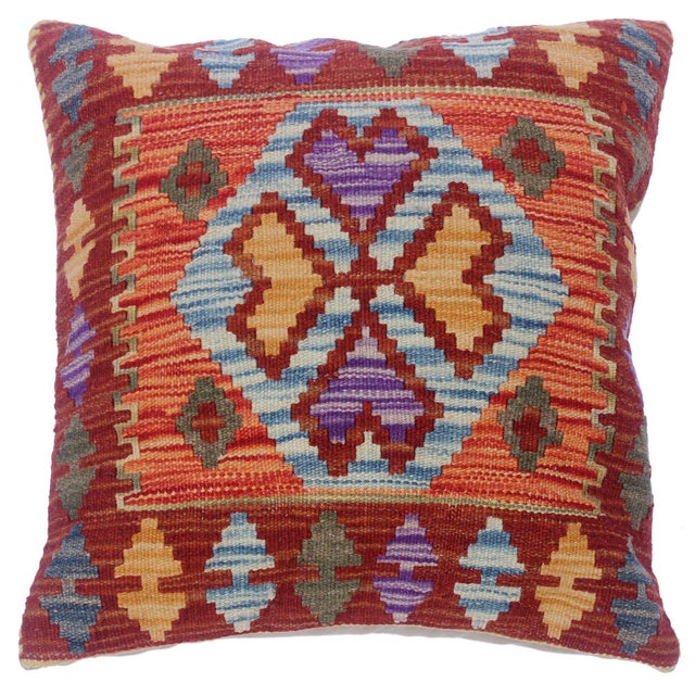 """Charmain Red/Rust Hand-Woven Kilim Throw Pillow(18""""x18"""") For Sale In New York - Image 6 of 6"""
