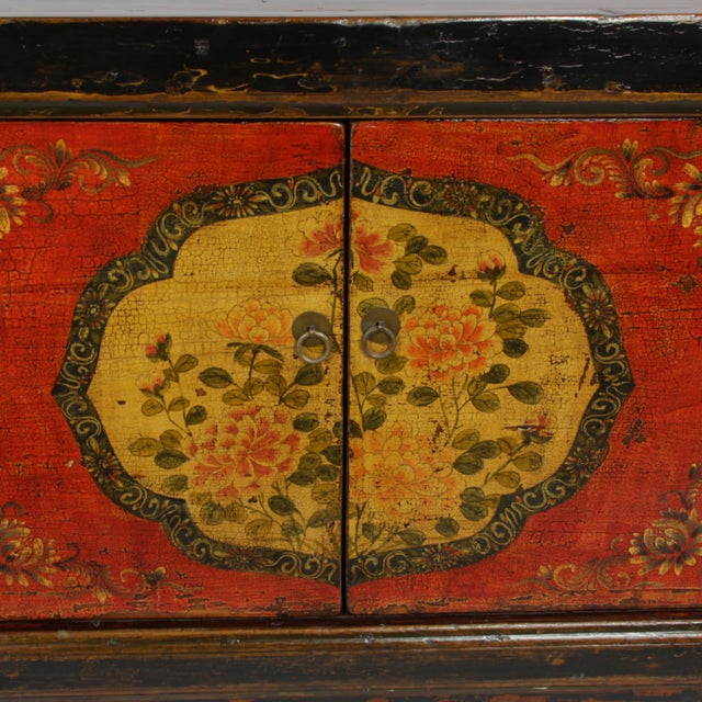 Mongolian Hand-Painted Floral Sideboard - Image 3 of 3