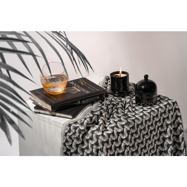 Textile Silent Ripple Handmade Organic Cotton Towel in Charcoal For Sale - Image 7 of 8