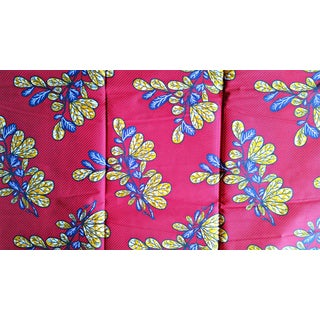 Brick Red Floral Stripe African Print Fabric - 5 Yards