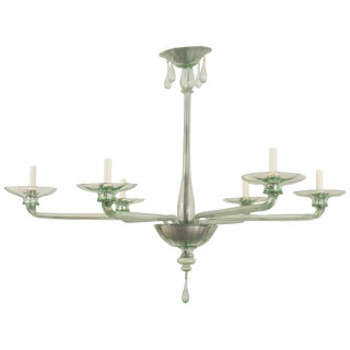 1940s Style Italian Venetian Murano Light Green Glass Chandelier For Sale