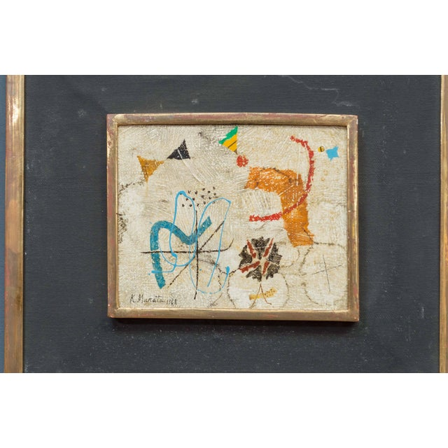 Wonderful painting by Japanese artist Kishio Murata, 1968. Playful and modern and in excellent condition original frame...