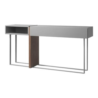 Right Console in Grey Matt Lacquer with a Textured Base by Michele Mantovani For Sale