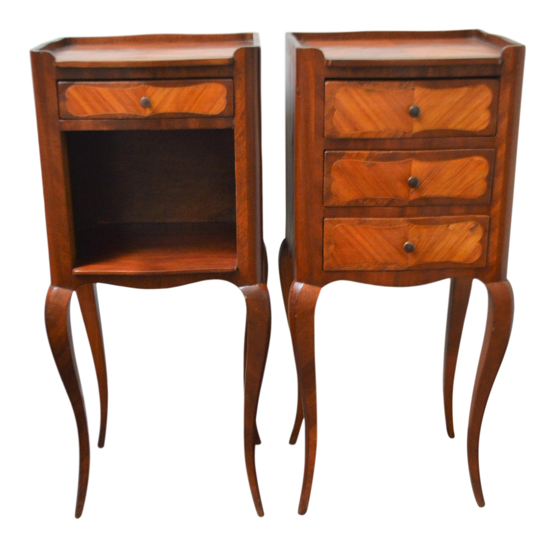1920s French Small Transitional Style Inlay Wood Side Tables   A Pair For  Sale