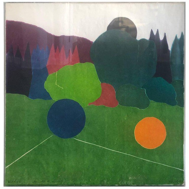"""Green 1980s Vintage """"I'll Catch the Sun"""" Abstract Silkscreen Artist's Proof For Sale - Image 8 of 8"""