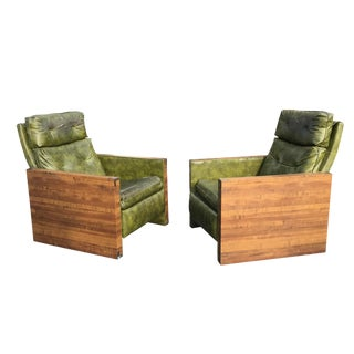 1970s Mid-Century Modern Walnut Reclining Armchairs - a Pair For Sale