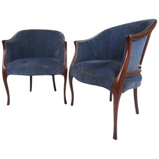 Pair of Mid-Century Modern Club Chairs by Hickory Chair For Sale