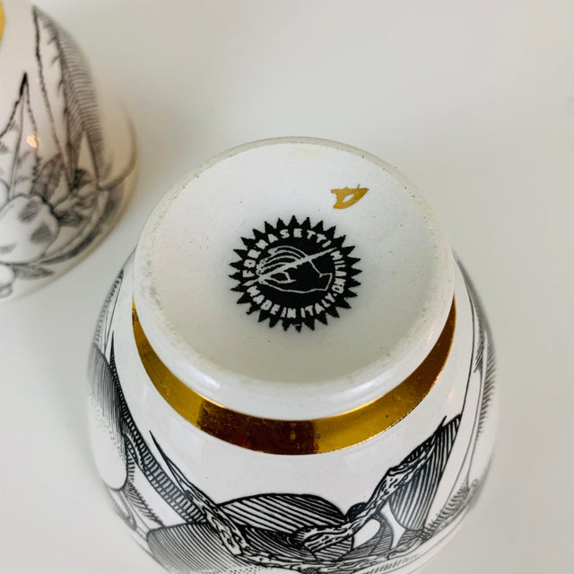 Piero Fornasetti 1960s Piero Fornasetti Snack Bowls - Set of 3 For Sale - Image 4 of 13