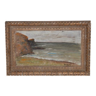 Vintage California Coastal Landscape Painting by Hentzell C.1964 For Sale