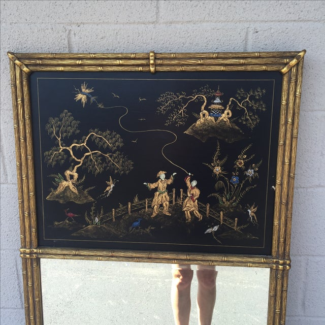 Gold Bamboo Chinoiserie Trumeau Mirror - Image 3 of 9