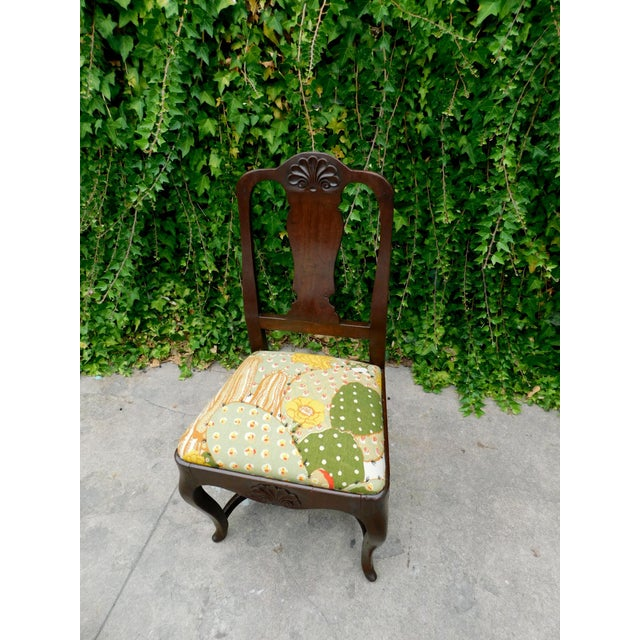 Arts & Crafts Early 1900s Botanical Cactus Vanity Chair For Sale - Image 3 of 10