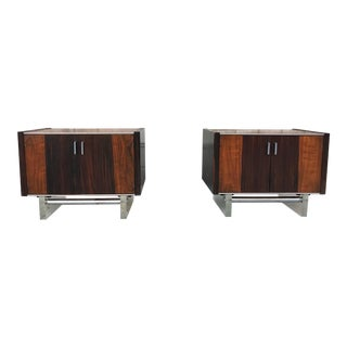 Rosewood & Lucite Side Tables - A Pair