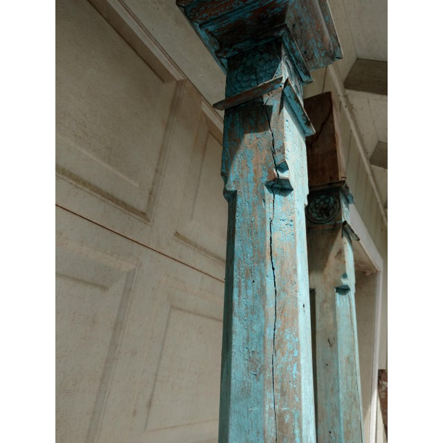 Antique Blue Ceylonese Temple Pillars - a Pair For Sale - Image 12 of 13