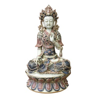 Vintage Chinese Tong Style Porcelain Kwan Yin Tara Bodhisattva Statue For Sale