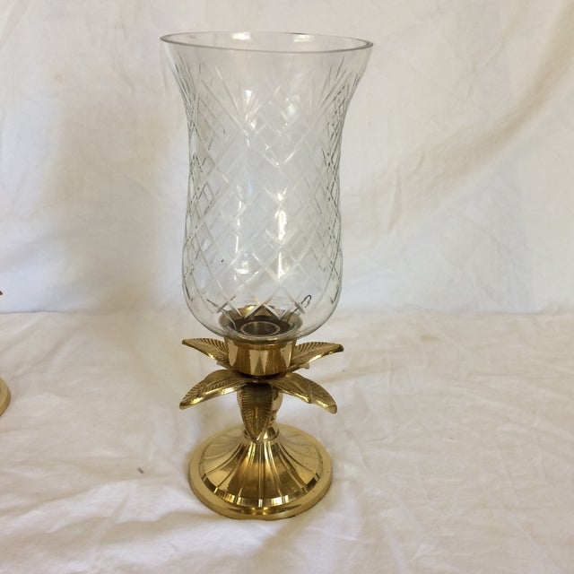Vintage Etched Crystal & Brass Pineapple Design Candle Holders - a Pair - Image 4 of 11