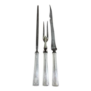 Traditional R. Wallace & Sons Antique Sterling Silver Roast Carving Set - 3 Pieces (Carvers) For Sale