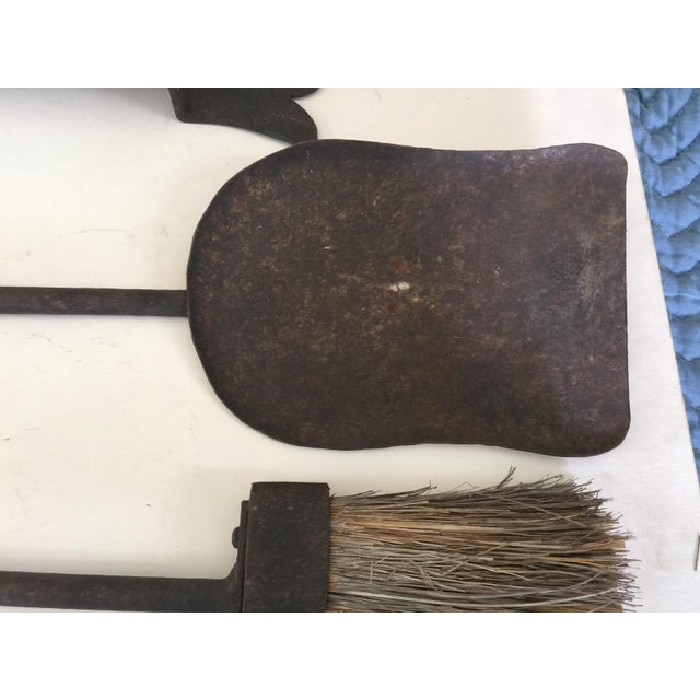 Antique Wrought Iron Fireplace Tool Set Wall Mount For Sale In San Francisco - Image 6 of 11