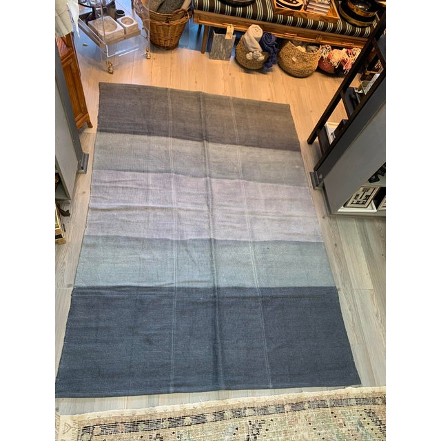 Late 20th Century Vintage Blue Ombre Turkish Hemp Rug-5′6″ × 7′10″ For Sale - Image 11 of 11