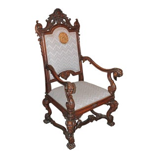 Spanish Hand-Carved Wood With 24-Karat Gold-Plated Bronze Emblem Kings Chair