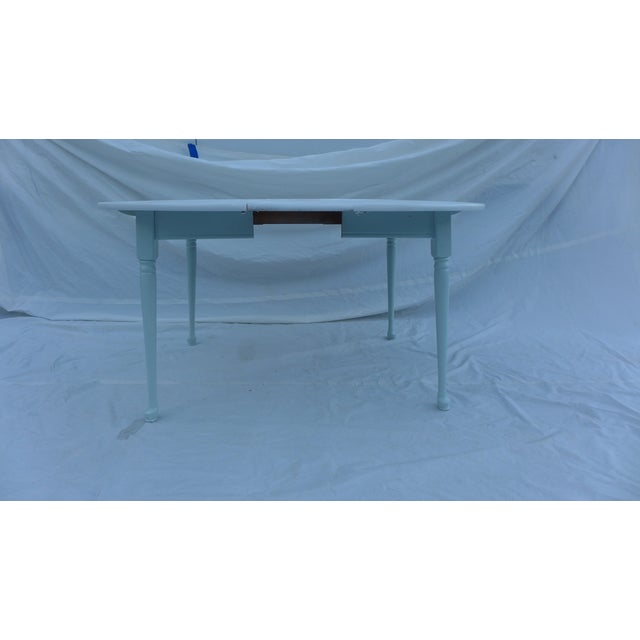 Cottage Heywood-Wakefield Two-Tone Blue & White Table For Sale - Image 3 of 7
