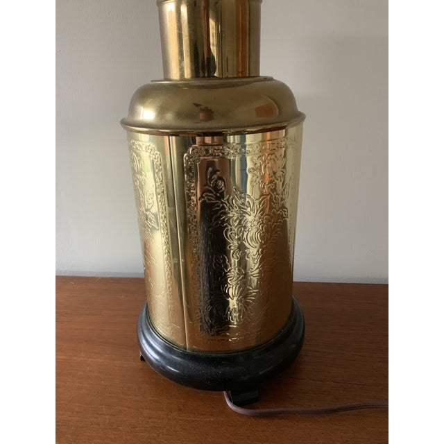 Asian Vintage Etched Brass Chinoiserie Table Lamp For Sale - Image 3 of 5