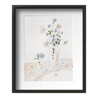 """Flowers on Desk 4"" Contemporary Still Life Drawing by Tang Wen Ching, Framed For Sale"