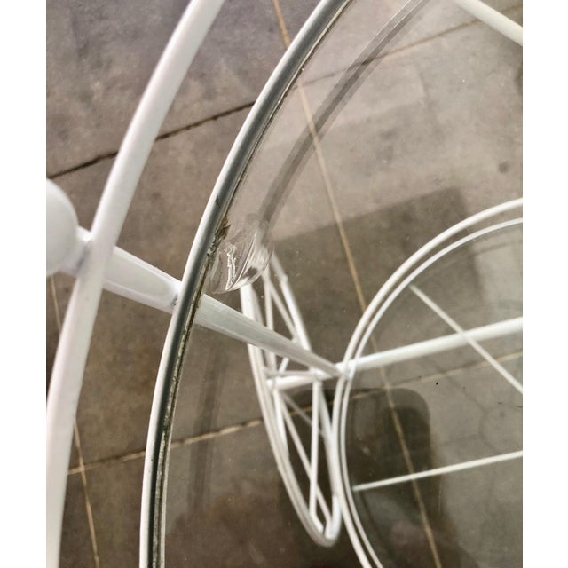 Metal White Vintage Indoor Outdoor Patio Bar Cart with Wooden Handle For Sale - Image 7 of 13