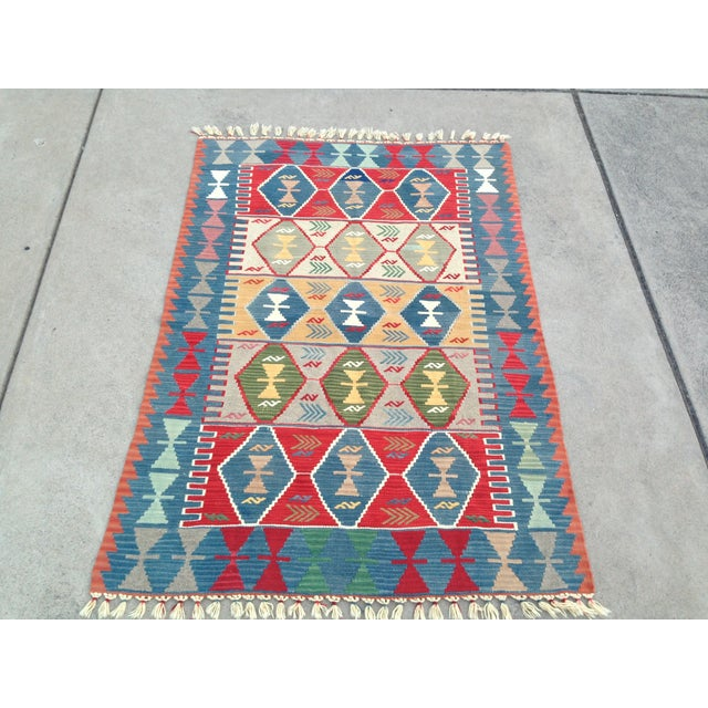 "Blue Turkish Handwoven Wool Kilim Rug - 4'2"" X 5'11"" For Sale - Image 8 of 10"