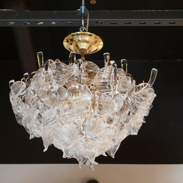 """Gold Mid-Century Modern """"Leaf"""" Handblown Glass With Brass Fittings Chandelier by Camer For Sale - Image 8 of 9"""