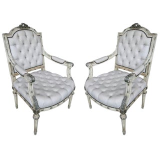 19th Century Louis XVI Armchairs - a Pair For Sale