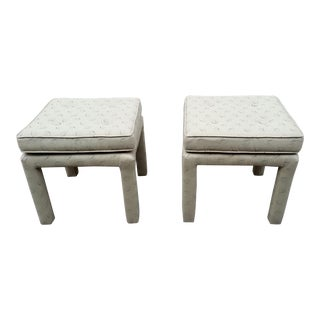 Vintage Upholstered Tufted Parsons Stools - a Pair For Sale