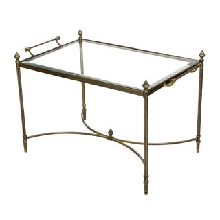20th Century Art Deco Brass Framed Glass Top Service Table For Sale