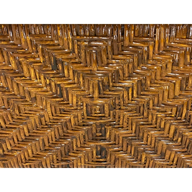 Organic Modern Bamboo and Rattan Console For Sale - Image 9 of 12