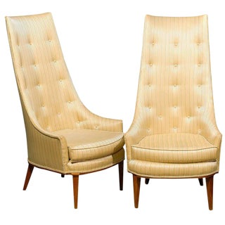 Mid Century Tufted High Back Chairs - A Pair